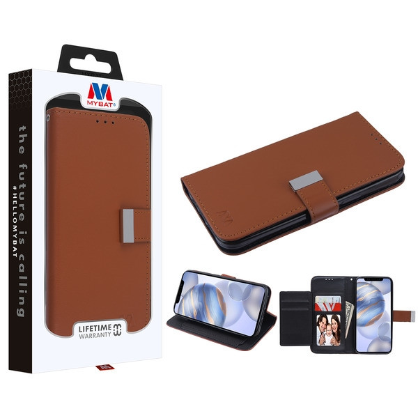 MyBat MyJacket Wallet Xtra Series for Apple iPhone 12 (6.1) - Brown / Black