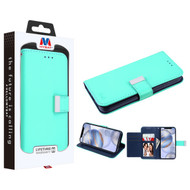 MyBat MyJacket Wallet Xtra Series for Apple iPhone 12 (6.1) - Teal Green / Dark Blue