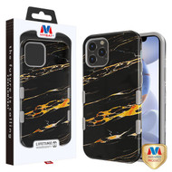 MyBat TUFF Subs Hybrid Case for Apple iPhone 12 (6.1) - Supreme Black Gold Flower Marble / Iron Gray