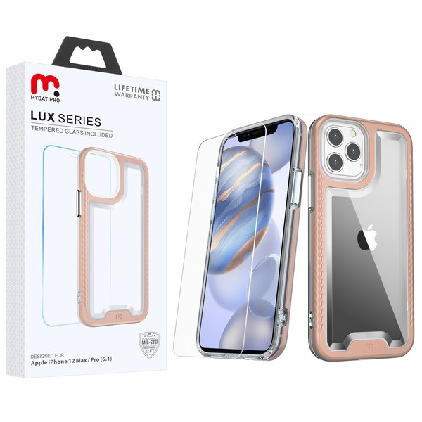 MyBat Pro Lux Series Hybrid Case (Tempered Glass Screen Protector) for Apple iPhone 12 (6.1) - Rose Gold / Transparent Clear