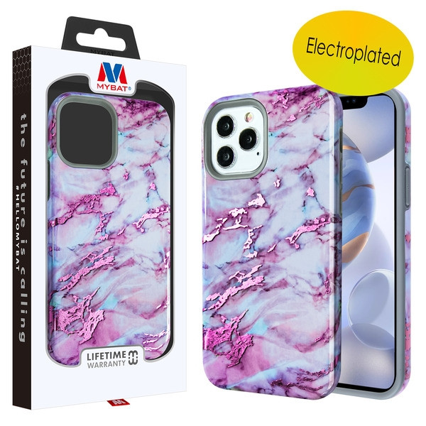 MyBat Fuse Hybrid Protector Cover for Apple iPhone 12 (6.1) - Electroplated Purple Marbling / Iron Gray