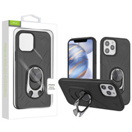 Airium Hybrid Protector Case (with Ring Holder Kickstand Bottle) for Apple iPhone 12 (6.1) - Black / Black