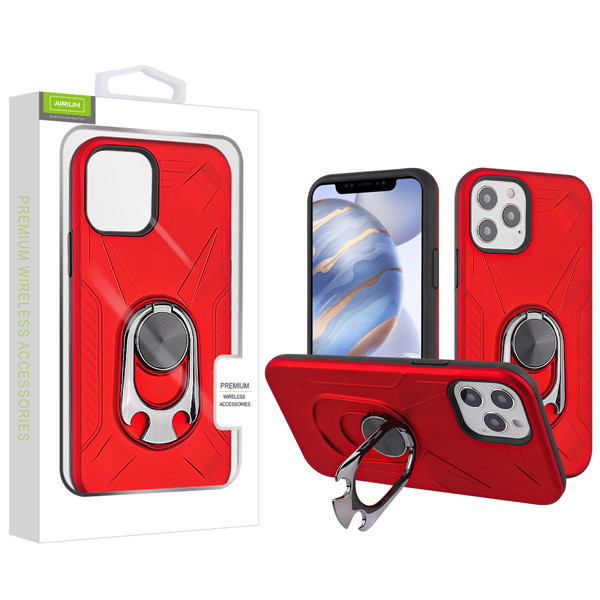 Airium Hybrid Protector Case (with Ring Holder Kickstand Bottle) for Apple iPhone 12 (6.1) - Red / Black