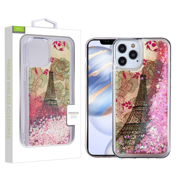Airium Quicksand Glitter Hybrid Protector Cover for Apple iPhone 12 (6.1) - Eiffel Tower & Pink Hearts