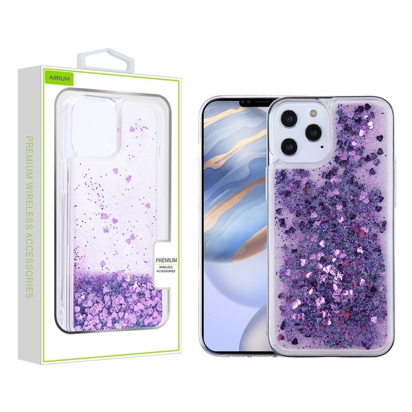 Airium Quicksand Glitter Hybrid Protector Case for Apple iPhone 12 (6.1) - Hearts & Purple