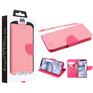 MyBat Liner MyJacket Wallet Crossgrain Series for Apple iPhone 12 (6.1) - Pink Pattern / Hot Pink