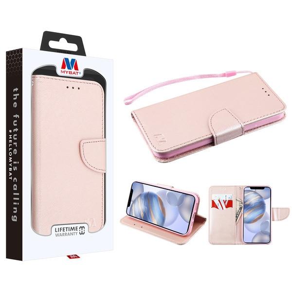 MyBat Liner MyJacket Wallet Crossgrain Series for Apple iPhone 12 (6.1) - Rose Gold Pattern / Rose Gold