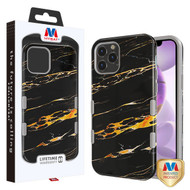 MyBat TUFF Subs Hybrid Case for Apple iPhone 12 Pro Max (6.7) - Supreme Black Gold Flower Marble / Iron Gray