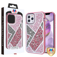 MyBat TUFF Kleer Hybrid Case for Apple iPhone 12 Pro Max (6.7) - Electroplated Rose Gold / Transparent Clear Mini Crystals & Glitter