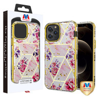 MyBat TUFF Kleer Hybrid Case for Apple iPhone 12 Pro Max (6.7) - Electroplated Roses Marble / Electroplating Gold