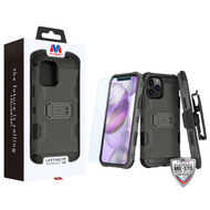 MyBat 3-in-1 Storm Tank Hybrid Protector Case Combo (with Black Holster)(Tempered Glass Screen Protector)[Military-Grade Certified] for Apple iPhone 12 Pro Max (6.7) - Dark Grey / Black