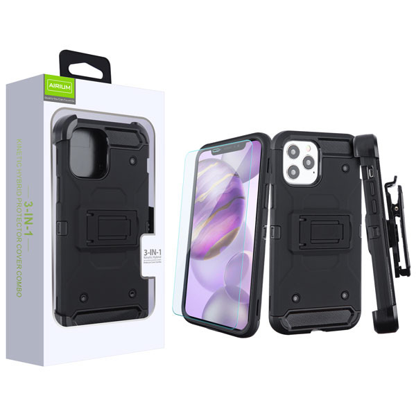 Airium 3-in-1 Kinetic Hybrid Protector Cover Combo (with Black Holster)(Tempered Glass Screen Protector) for Apple iPhone 12 Pro Max (6.7) - Black / Black