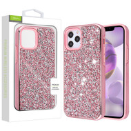 Airium Encrusted Rhinestones Hybrid Case for Apple iPhone 12 Pro Max (6.7) - Electroplated Pink / Pink