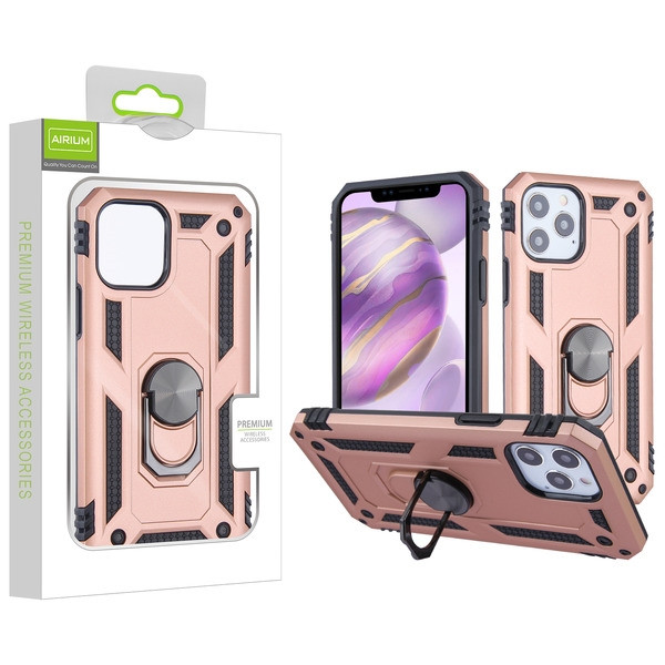 Airium Anti-Drop Hybrid Protector Case (with Ring Stand) for Apple iPhone 12 Pro Max (6.7) - Rose Gold / Black