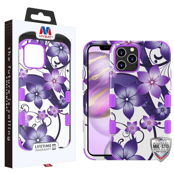 MyBat TUFF Hybrid Protector Cover [Military-Grade Certified] for Apple iPhone 12 Pro Max (6.7) - Purple Hibiscus Flower Romance / Electric Purple