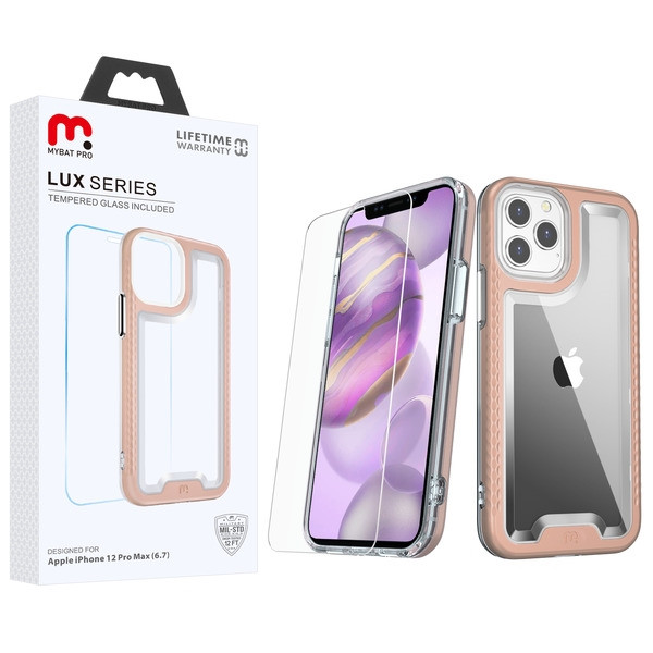 MyBat Pro Lux Series Hybrid Case (Tempered Glass Screen Protector) for Apple iPhone 12 Pro Max (6.7) - Rose Gold / Transparent Clear
