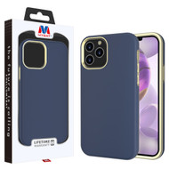 MyBat Fuse Hybrid Protector Cover for Apple iPhone 12 Pro Max (6.7) - Rubberized Ink Blue / Metallic Gold