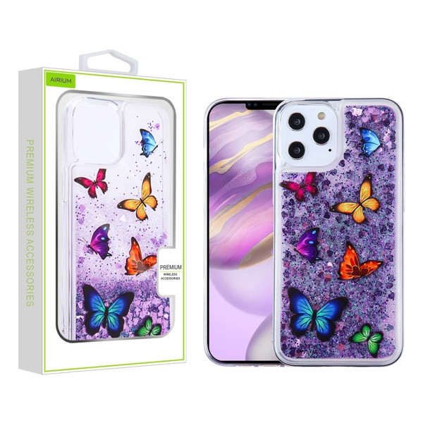 Airium Glitter Hybrid Protector Case for Apple iPhone 12 Pro Max (6.7) - Butterfly Dancing & Purple Quicksand (Hearts)