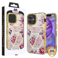 MyBat TUFF Kleer Hybrid Case for Apple iPhone 12 mini (5.4) - Electroplated Roses Marble / Electroplating Gold