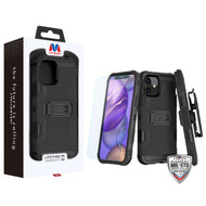 MyBat 3-in-1 Storm Tank Hybrid Protector Case Combo (with Black Holster)(Tempered Glass Screen Protector)[Military-Grade Certified] for Apple iPhone 12 mini (5.4) - Black / Black
