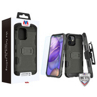MyBat 3-in-1 Storm Tank Hybrid Protector Case Combo (with Black Holster)(Tempered Glass Screen Protector)[Military-Grade Certified] for Apple iPhone 12 mini (5.4) - Dark Grey / Black