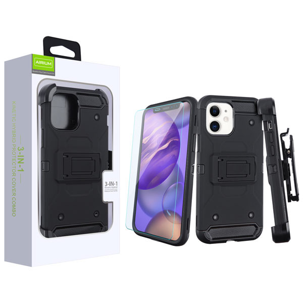 Airium 3-in-1 Kinetic Hybrid Protector Cover Combo (with Black Holster)(Tempered Glass Screen Protector) for Apple iPhone 12 mini (5.4) - Black / Black