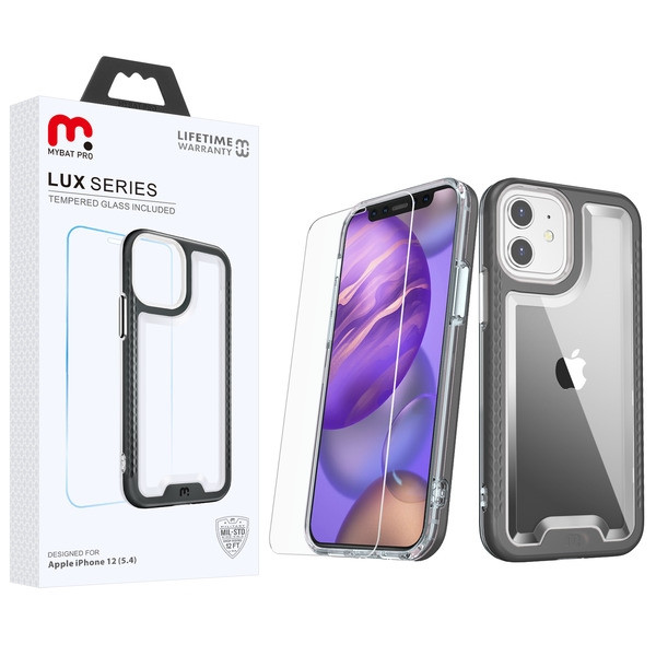 MyBat Pro Lux Series Hybrid Case (Tempered Glass Screen Protector) for Apple iPhone 12 mini (5.4) - Black / Transparent Clear