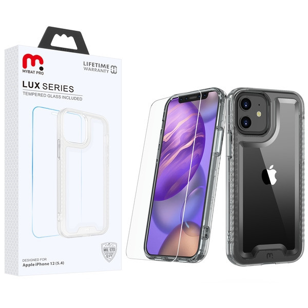MyBat Pro Lux Series Hybrid Case (Tempered Glass Screen Protector) for Apple iPhone 12 mini (5.4) - Transparent Clear / Transparent Clear