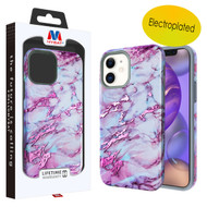 MyBat Fuse Hybrid Protector Cover for Apple iPhone 12 mini (5.4) - Electroplated Purple Marbling / Iron Gray