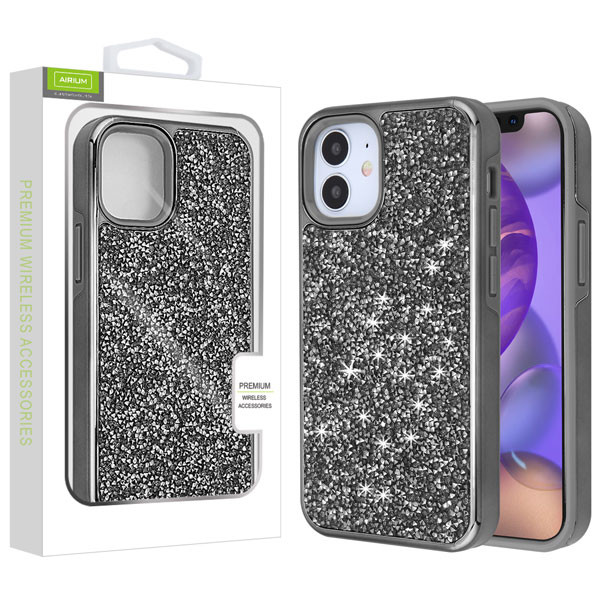 Airium Encrusted Rhinestones Hybrid Case for Apple iPhone 12 mini (5.4) - Electroplated Gun Metal / Iron Gray