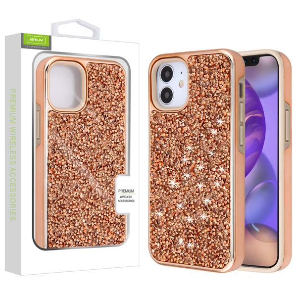 Airium Encrusted Rhinestones Hybrid Case for Apple iPhone 12 mini (5.4) - Electroplated Rose Gold / Rose Gold