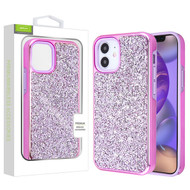 Airium Encrusted Rhinestones Hybrid Case for Apple iPhone 12 mini (5.4) - Electroplated Purple / Purple