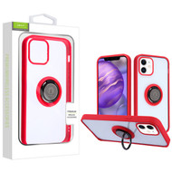 Airium Hybrid Case (with Ring Stand) for Apple iPhone 12 mini (5.4) - Transparent Clear / Red