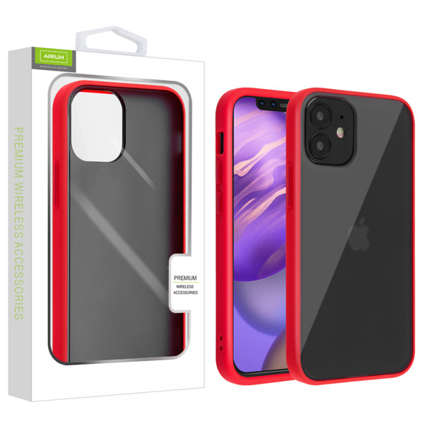 Airium Frost Hybrid Protector Cover for Apple iPhone 12 mini (5.4) - Semi Transparent Smoke Frosted / Rubberized Red