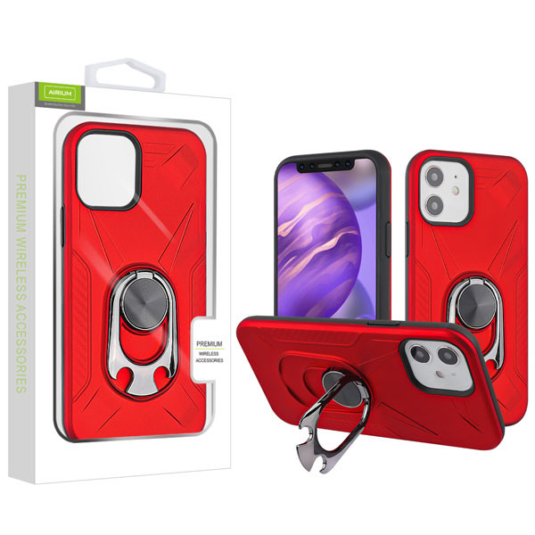 Airium Hybrid Protector Case (with Ring Holder Kickstand Bottle) for Apple iPhone 12 mini (5.4) - Red / Black