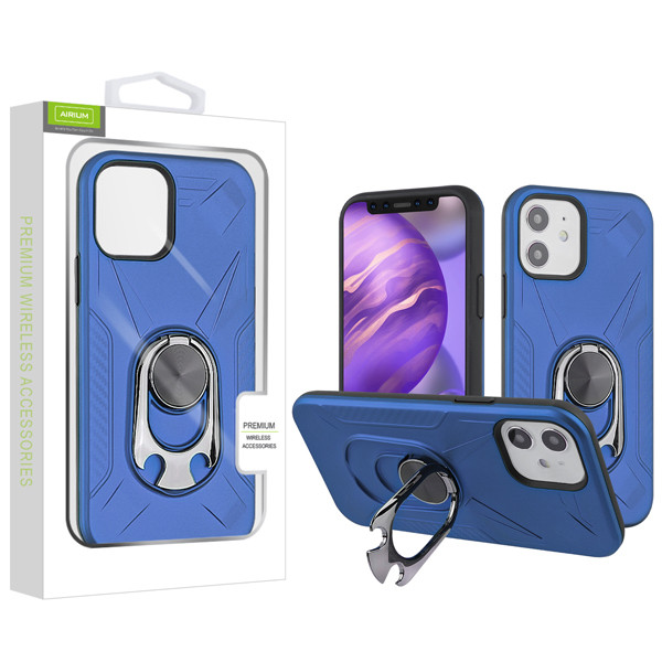 Airium Hybrid Protector Case (with Ring Holder Kickstand Bottle) for Apple iPhone 12 mini (5.4) - Ink Blue / Black