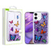 Airium Glitter Hybrid Protector Case for Apple iPhone 12 mini (5.4) - Butterfly Dancing & Purple Quicksand (Hearts)