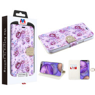 MyBat MyJacket Wallet Diamond Series for Apple iPhone 12 mini (5.4) - Fresh Purple Flowers