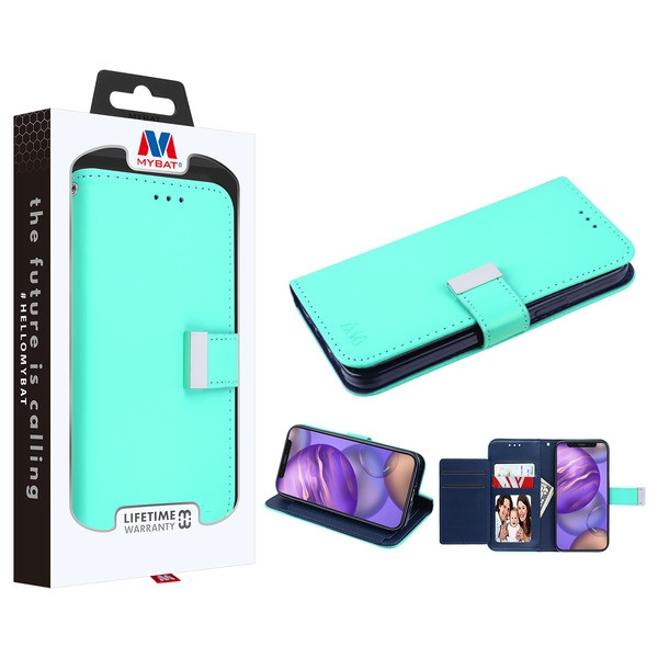 MyBat MyJacket Wallet Xtra Series for Apple iPhone 12 mini (5.4) - Teal Green / Dark Blue