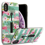 Airium Finger Grip Hybrid Protector Cover (with Silicone Strap & Metal Stand) for Apple iPhone XS Max - Tropical Flamingo / Black