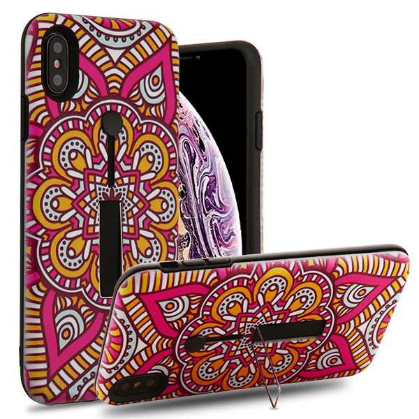 Airium Finger Grip Hybrid Protector Cover (with Silicone Strap & Metal Stand) for Apple iPhone XS Max - Mandala Blossom / Black