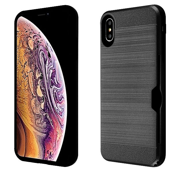Airium Brushed Hybrid Protector Cover(with Card Wallet) for Apple iPhone XS Max - Black / Black