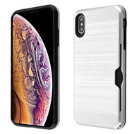 Airium Brushed Hybrid Protector Cover(with Card Wallet) for Apple iPhone XS Max - Silver / Black