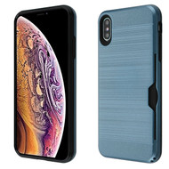 Airium Brushed Hybrid Protector Cover(with Card Wallet) for Apple iPhone XS Max - Ink Blue / Black