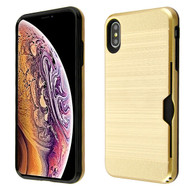 Airium Brushed Hybrid Protector Cover (with Card Wallet) for Apple iPhone XS Max - Gold / Black