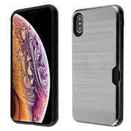 Airium Brushed Hybrid Protector Cover (with Card Wallet) for Apple iPhone XS Max - Light Gray / Black