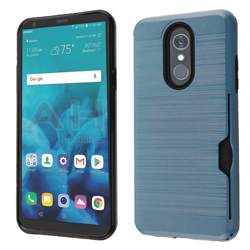 Airium Brushed Hybrid Protector Cover(with Card Wallet) for Lg Stylo 4 - Ink Blue / Black