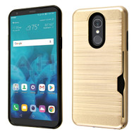 Airium Brushed Hybrid Protector Cover (with Card Wallet) for Lg Stylo 4 - Gold / Black