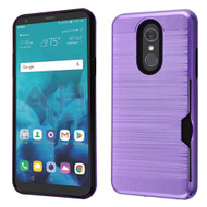 Airium Brushed Hybrid Protector Cover(with Card Wallet) for Lg Stylo 4 - Dark Purple / Black