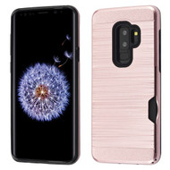 Airium Brushed Hybrid Protector Cover(with Card Wallet) for Samsung Galaxy S9 Plus - Rose Gold / Black